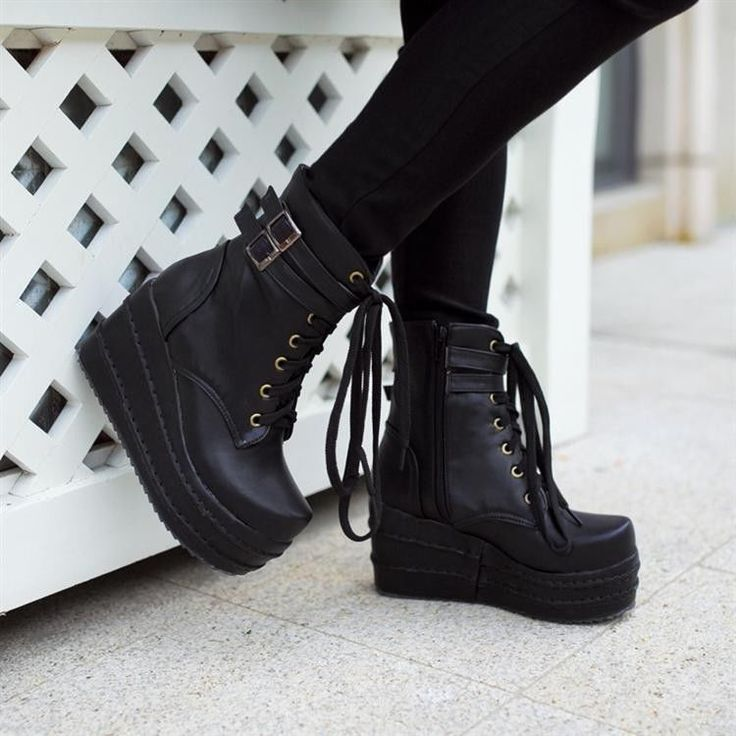 Womens Platform Wedges Buckle Decor Lace Up Ankle Boots Punk Goth Creeper Shoes #PlatformsWedges