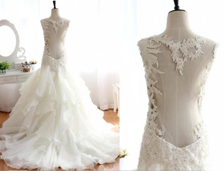 Lace Beading Open Back See Through Ruffle Organza Wedding