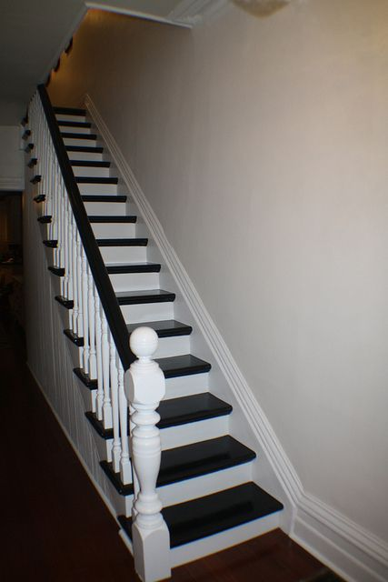 Paint Stair Rail White With Espresso Accent Color