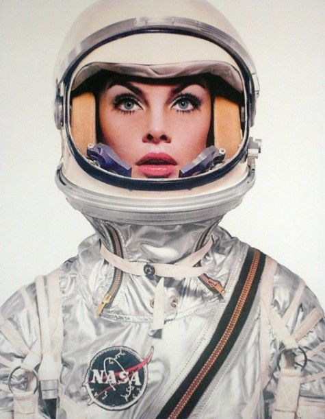 Jean Shrimpton in a NASA spacesuit photographed by