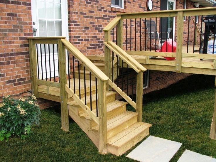 Acq Pressure Treat Pine Wood Deck Steps With Deckorators | Pressure Treated Stair Railing