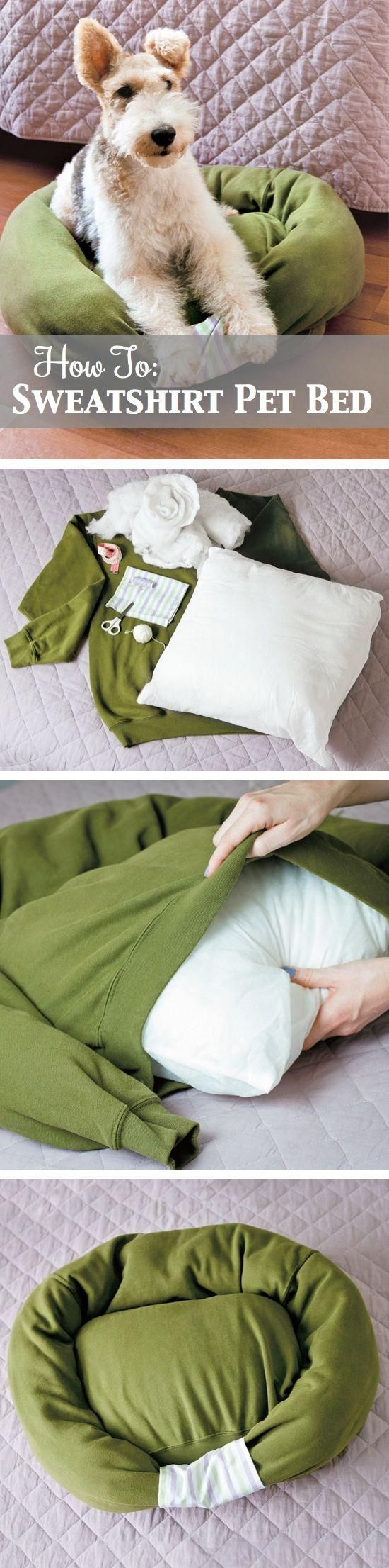 How to make your own dog bed…can pick a sweatshirt up at good will and probabl