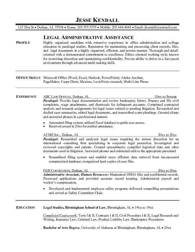 Paralegal Resume Sample – Objective for Paralegal Resume