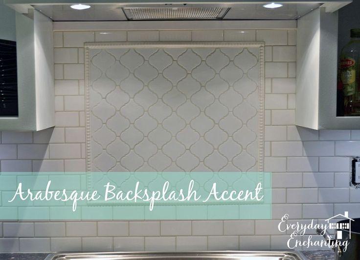 How To Add Interest To A White Subway Tile Backsplash An Arabesque Accent Kitchen Backsplash