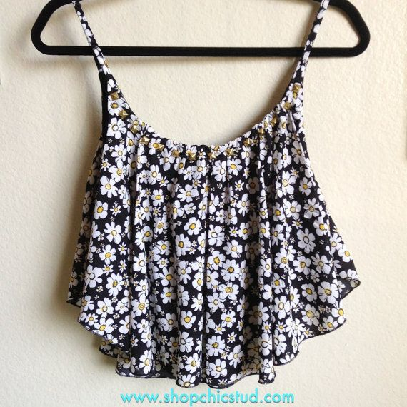 Studded Crop Top Handkerchief Tank – Daisy Flower Floral Print – Gold, Silver or Black Studs – on Etsy, $30.00