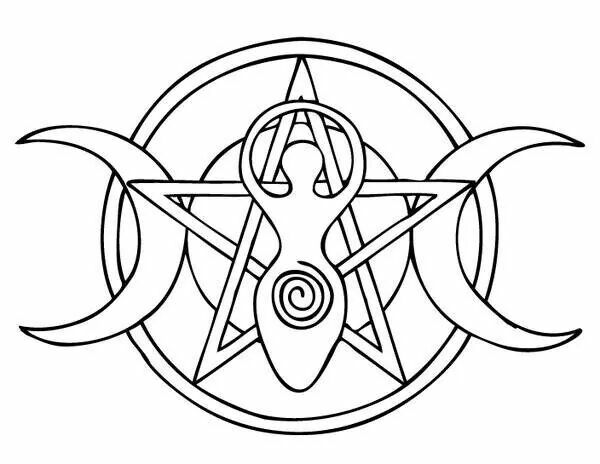 pentagram spiral goddess and moon phases == these would