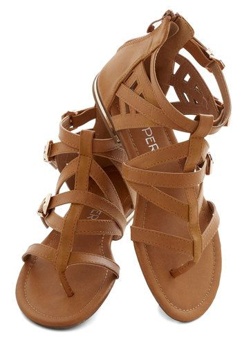 Key to Strappiness Sandal – Flat, Faux Leather, Tan, Solid, Weekend, Good, Strappy, Summer, Casual, Beach/Resort,