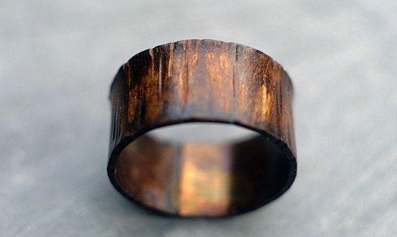 Mens Womens Custom Wide Copper Ring Band Wood Grain