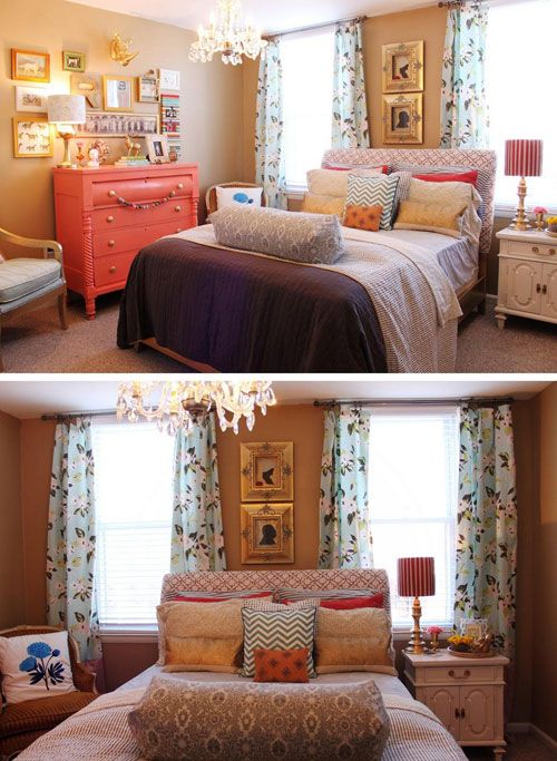 Funky bedroom- lots of color. Love the huge bolster pillow, patterned drapes, co