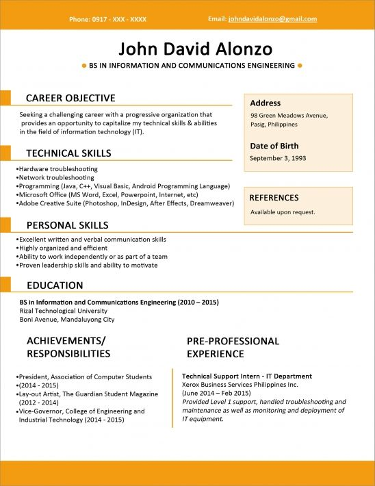 01/08/2019· here's the resume objective our applicant wrote to kickstart their computer science resume: Computer Science Fresh Graduate Resume