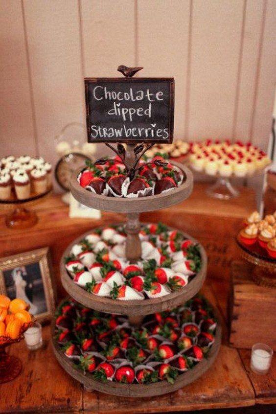 chocolate strawberries display dessert table / www.himisspuff.co…