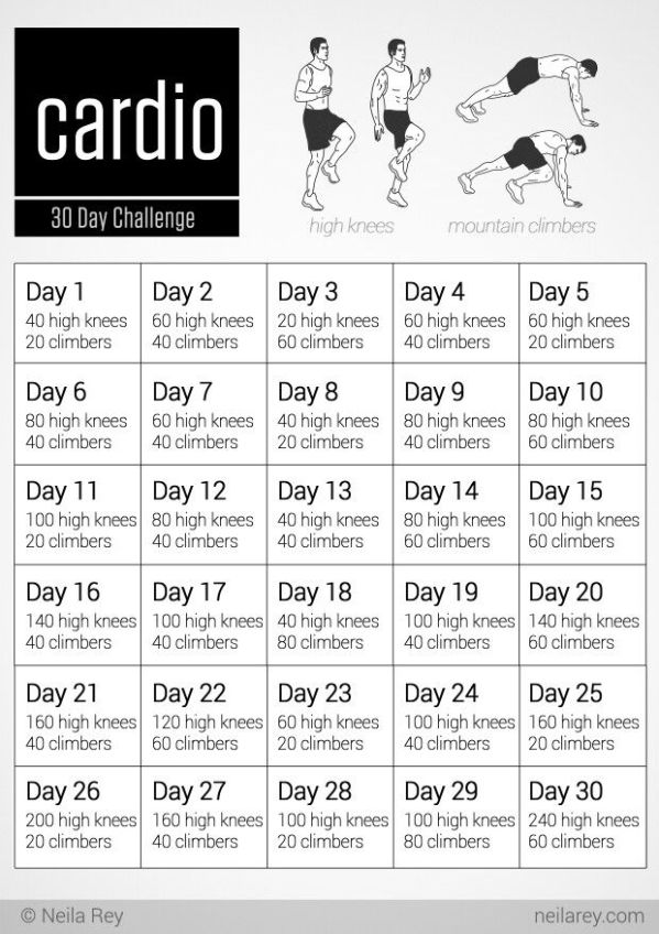 30 Day Cardio Challenge Lets Workout Pinterest