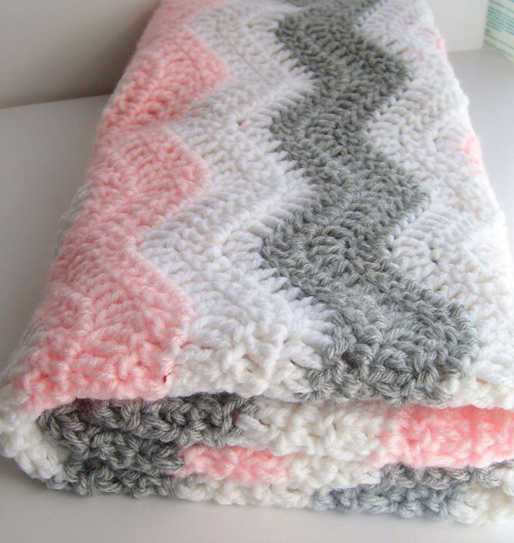 Pink and Gray Chevron Baby Blanket – Crochet Baby Blanket – Chevron Baby Girl Pi