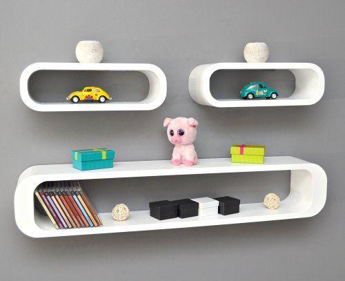 Set Of 3 Lounge Cube Shelf Design Retro CD Shelf Wall Rack