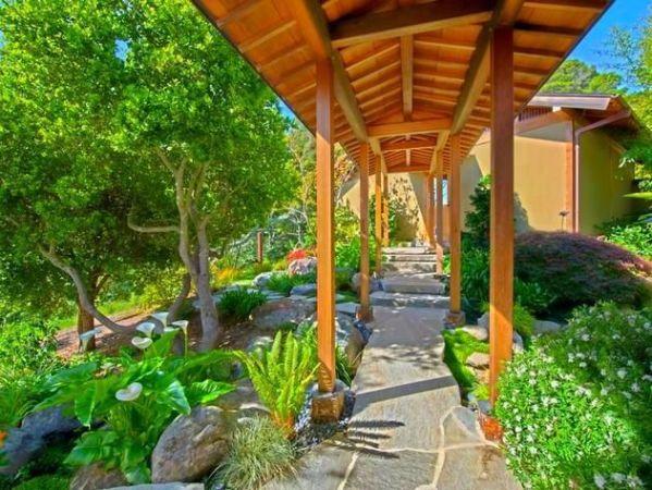 covered garden walkway Covered Walkway in an Asian-Inspired Landscape   garden