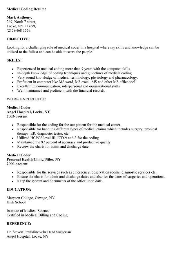Medical Coder Sample Resume