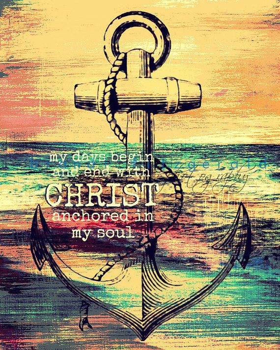 Anchor in Christ Religious Faith Nautical Decor Product ...
