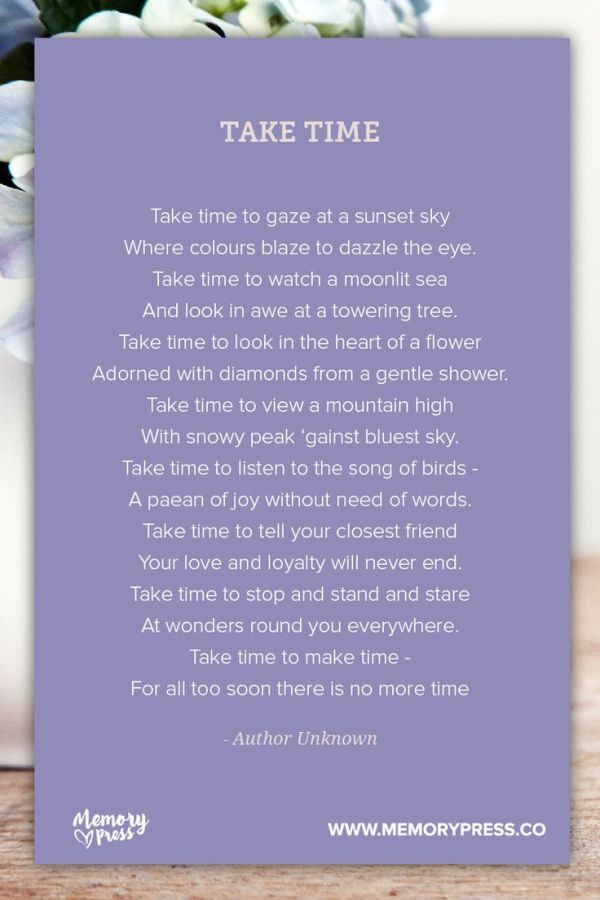 Take Time. A collection of non-religious funeral poems ...