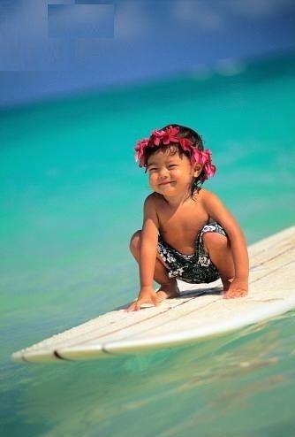Alohaa ~ Little Surf boy, Hawaii by Dana Edmunds