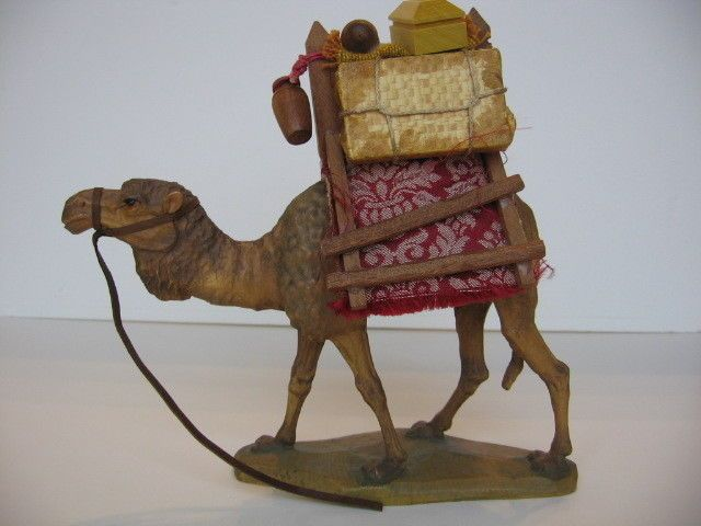 ANRI Nativity Wood Carving 6 Camel With Carrier K021