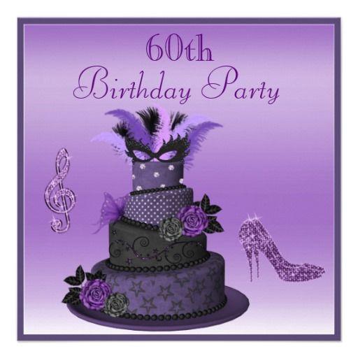 Purple Diva Cake Sparkle High Heels 60th Birthday Card
