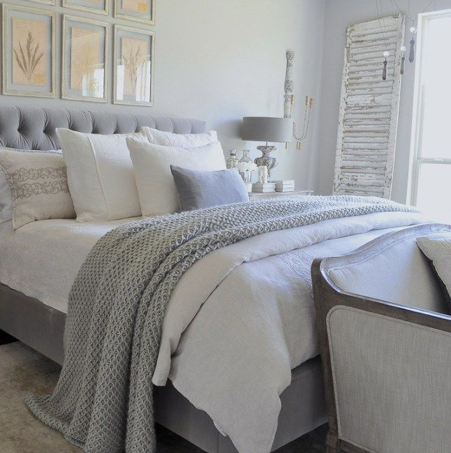 Gray And White Bedroom With Tufted Headboard Chunky Throw Blanket