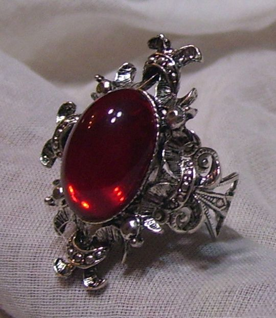 ANTIQUE SILVER RUBY RED GLASS STONE ADJ. RING VICTORIAN GOTHIC BAROQUE VAMPIRE | eBay