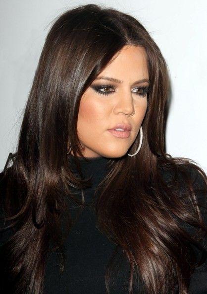 Glossy Dark Brown Hair #Khole Kardashian