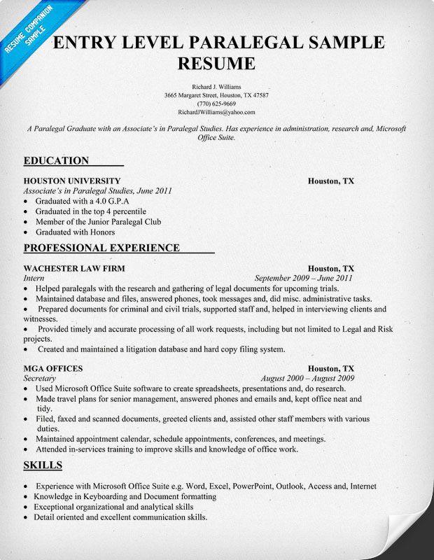 Entry Level Paralegal Resume Sample Resumecompanioncom Law Student Resume Samples Across