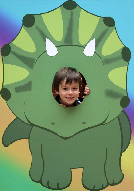 EXtra Large Dinosaur Kids Party Photo Prop –  Includes Rawrrr + Dinosaur Crossing Signs. Green, Triceratops DIY Instant Download