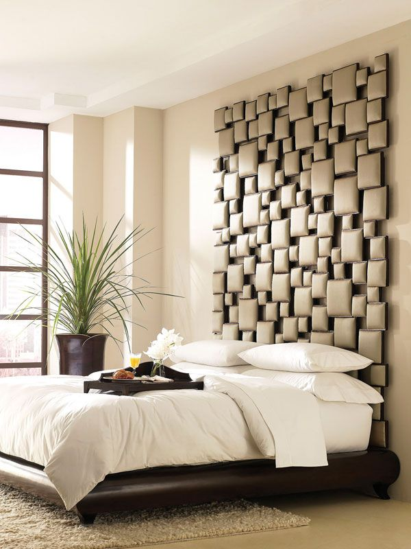 35 Cool Headboard Ideas To Improve Your Bedroom Design.  (try fabric wrapping small pieces of wood and then stick to wall in random