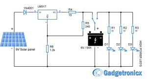 Solar powered led light circuit diagram and schematic design Emergency household lighting using