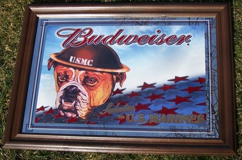 100 00 Rare Budweiser Us Marine Military Beer Mirror Very
