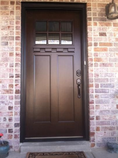 Feather River Doors 375 In X 81625 In 6 Lite Craftsman Stained Chestnut Mahogany Right Hand