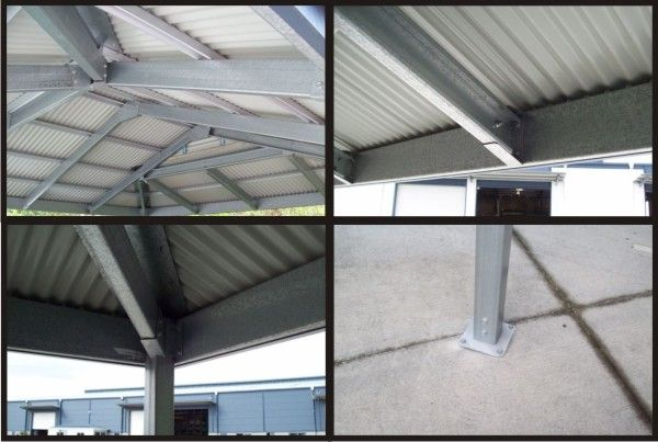 The Inside Steel Structure Of Our Dutch Gable Carport Design Including The Frame Purlins Roof
