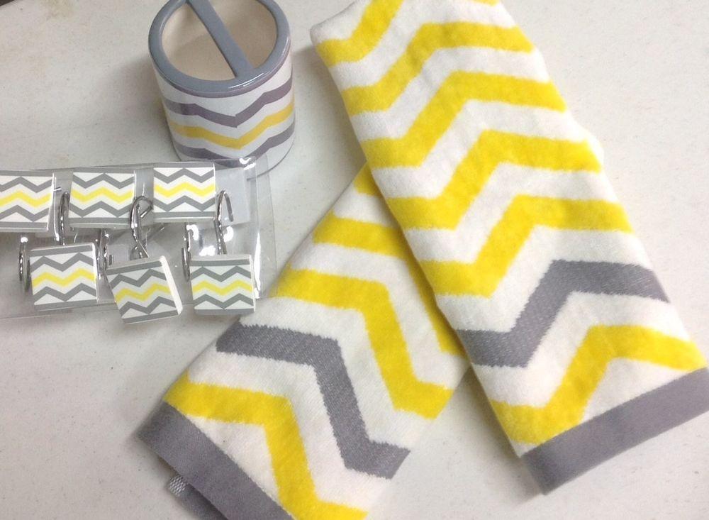 15 pc chevron bright yellow gray white bathroom set bath towel