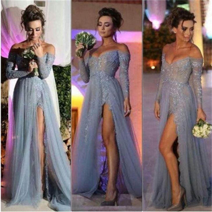 Long Off Shoulder Vneck Side Slit Sexy Popular Prom Dresses