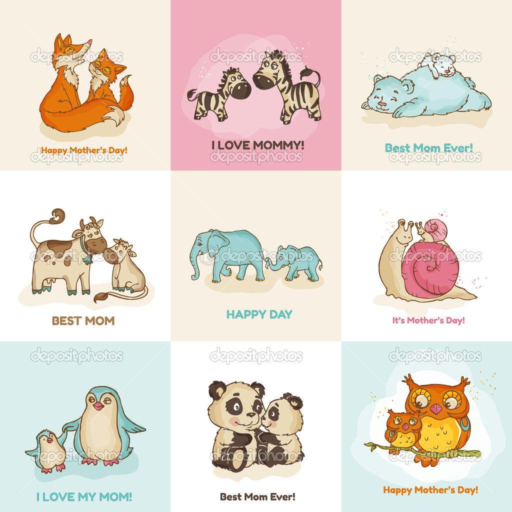Mother Animal Illustrations