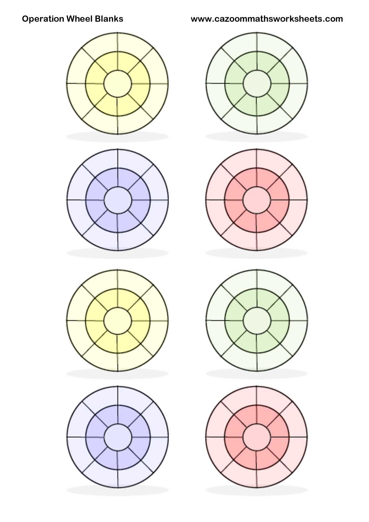 Operation Wheel Blanks For Addition Subtraction Or