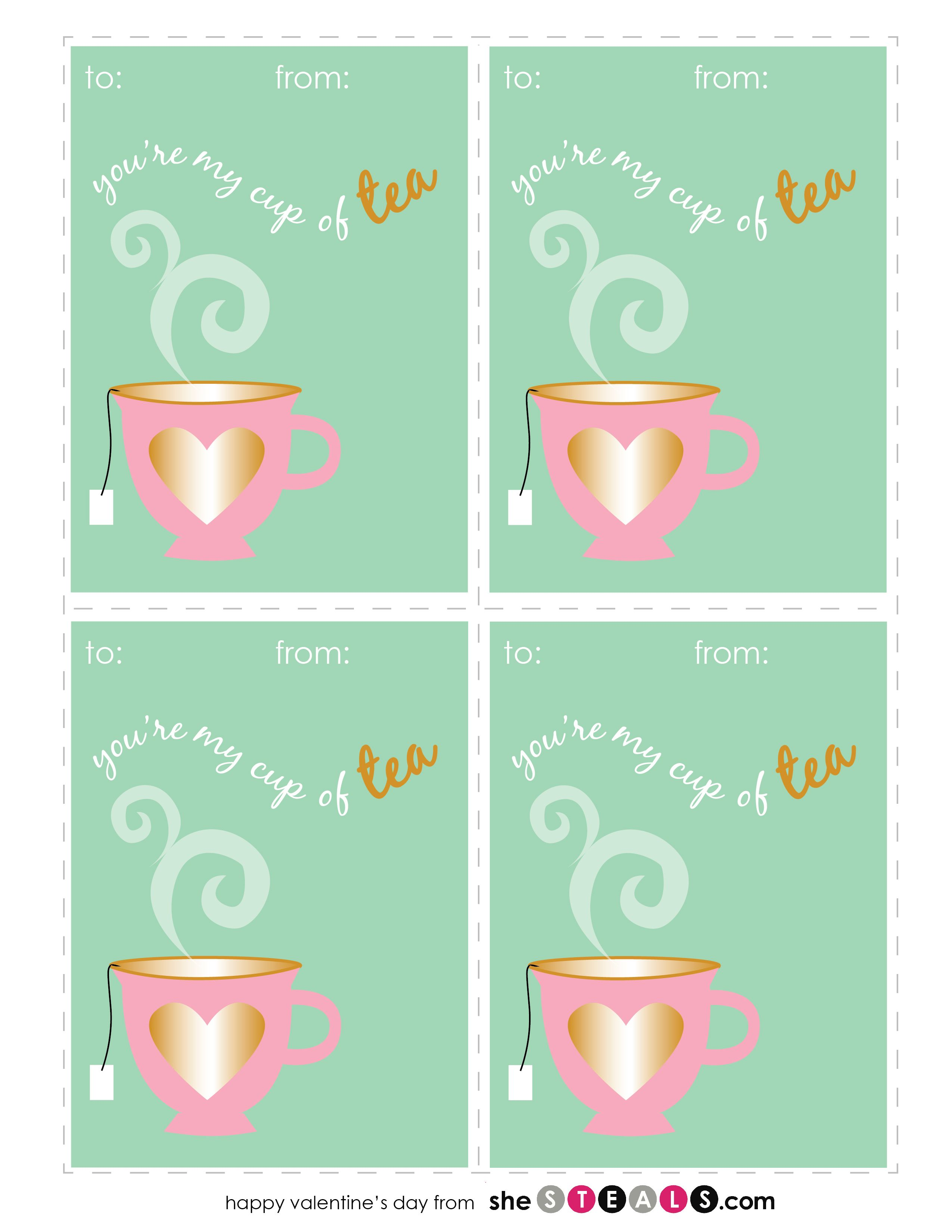 Free Valentines Printables You Re My Cup Of Tea