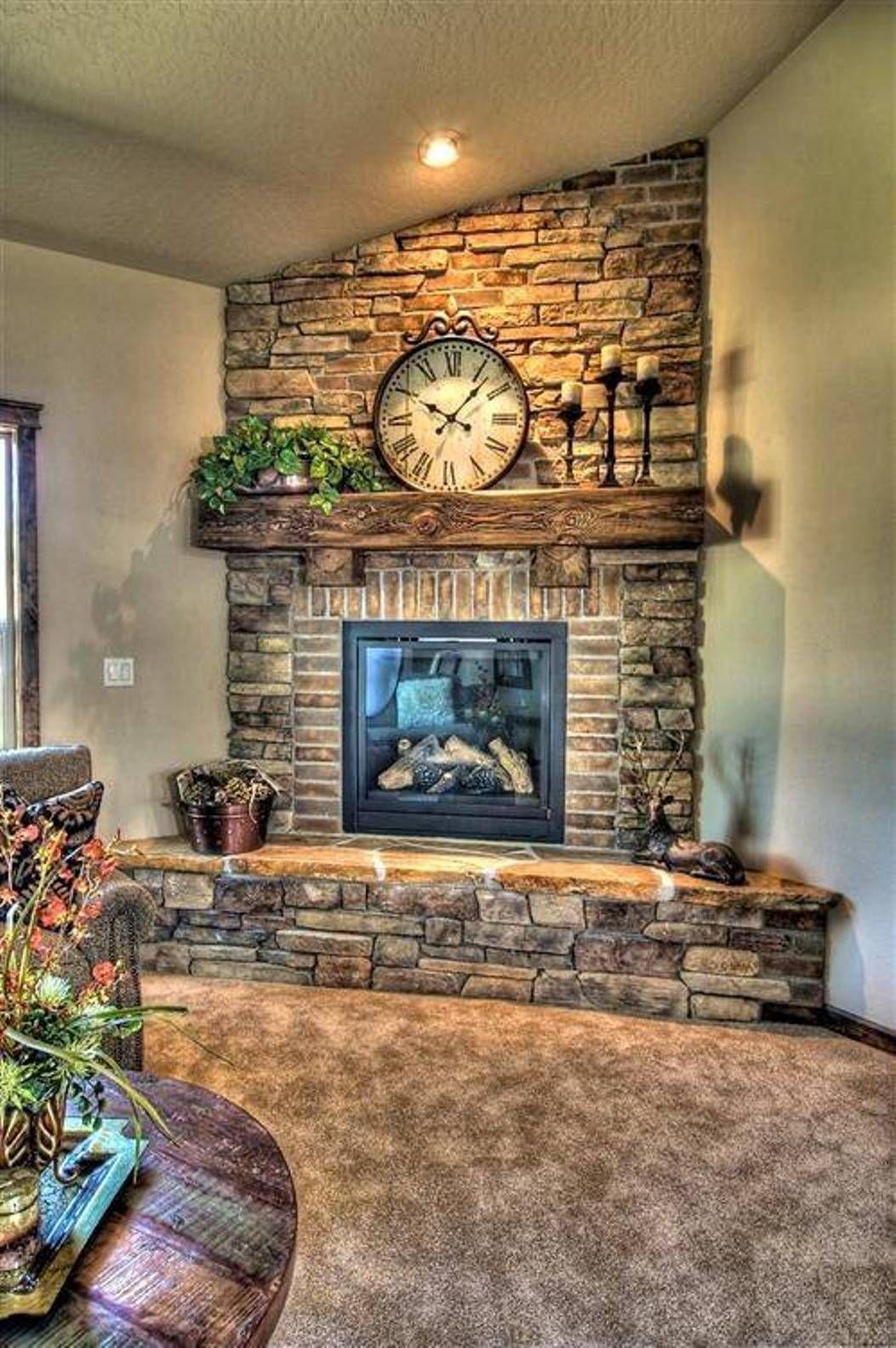 Stone And Brick Corner Fireplace Design Corner Fireplace