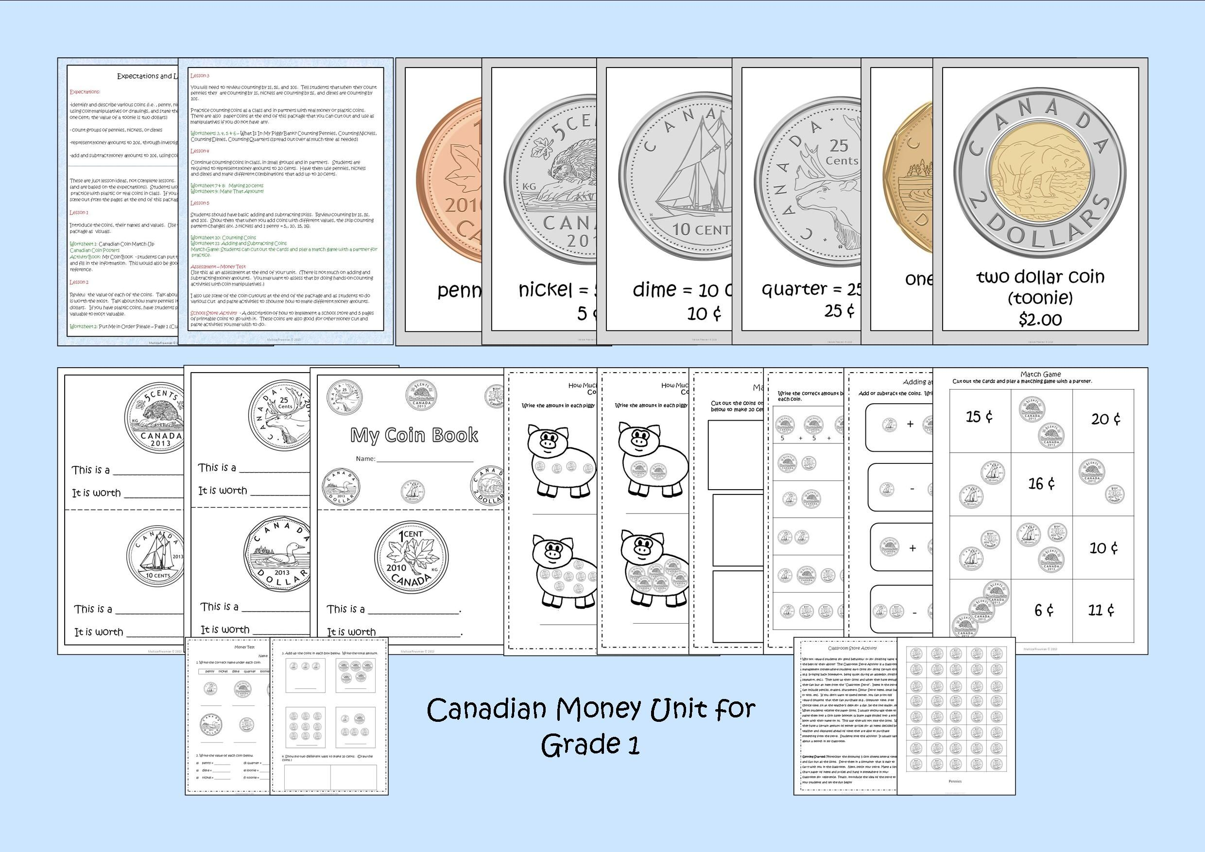 Canadian Money Unit For Grade 1 Ontario Curriculum
