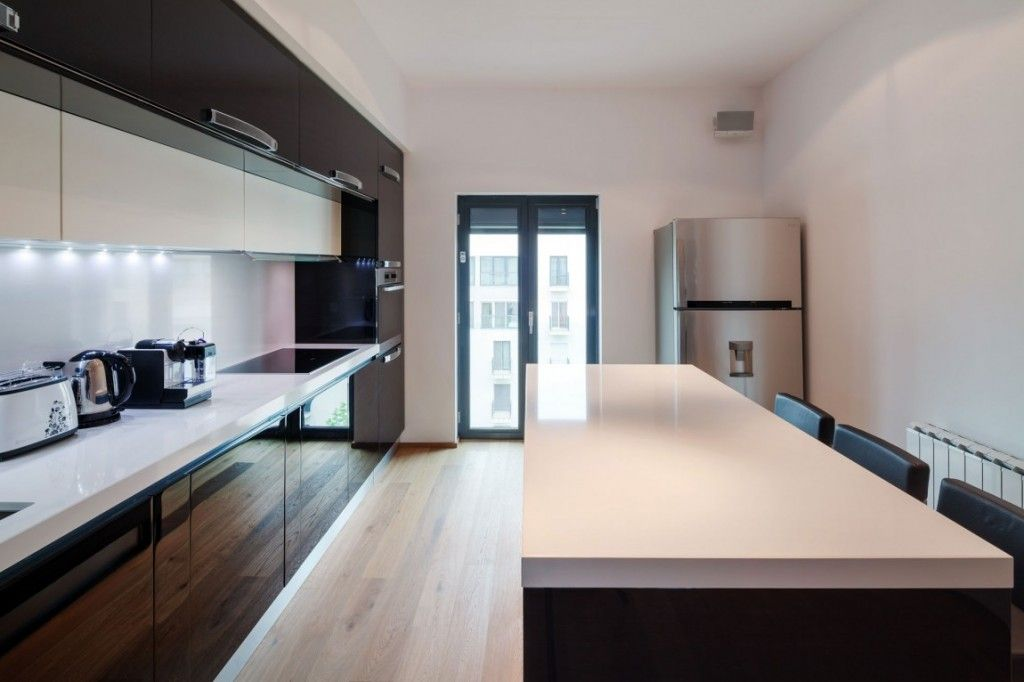 Extraordinary Sleek Apartment Kitchen Design White Oak