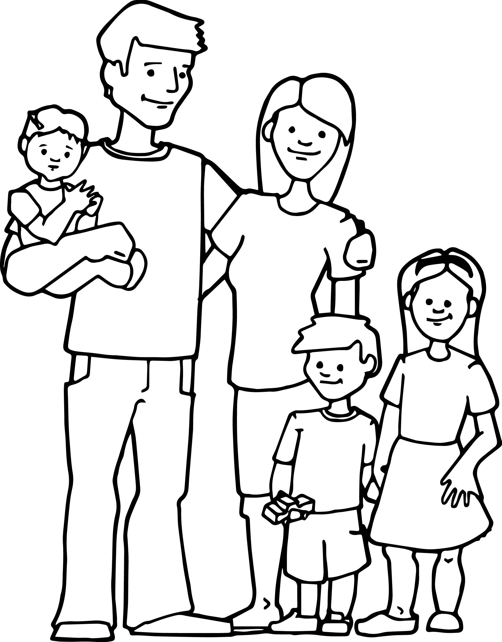 Family Kids Coloring Page