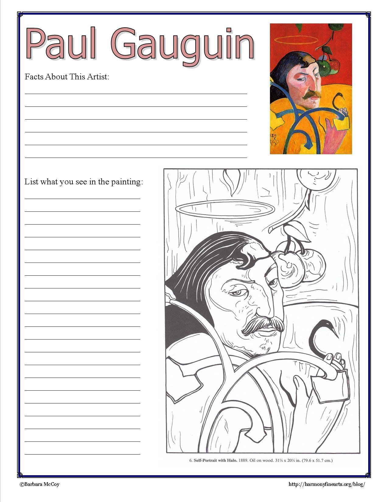 Paul Gauguin Notebook Page Printable