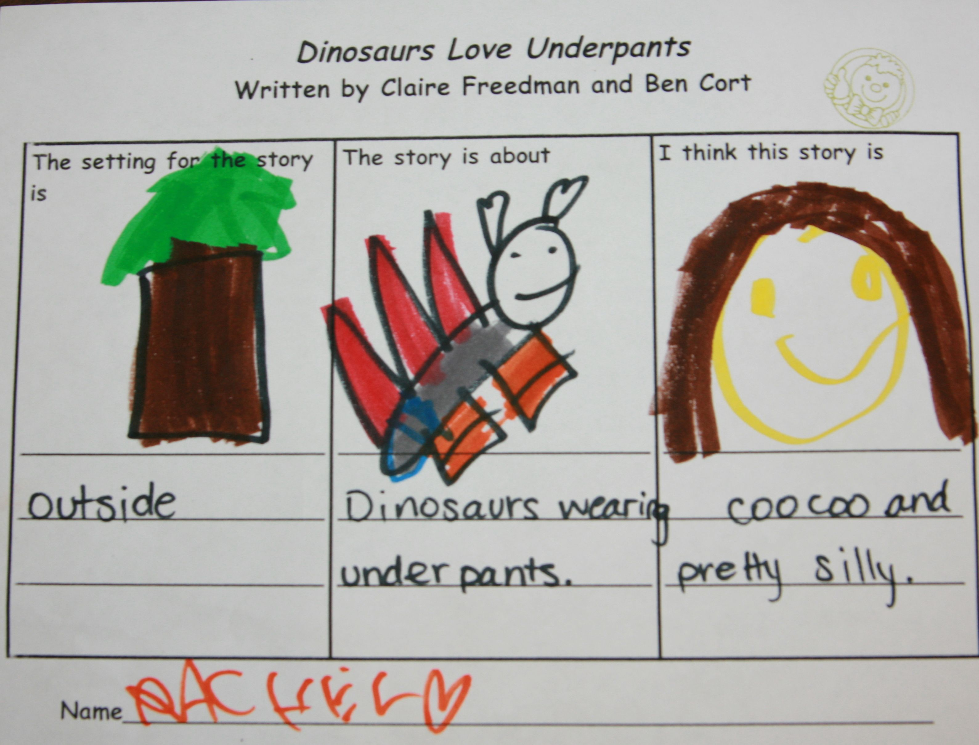 Dinosaurs Love Underpants Literacy Activity