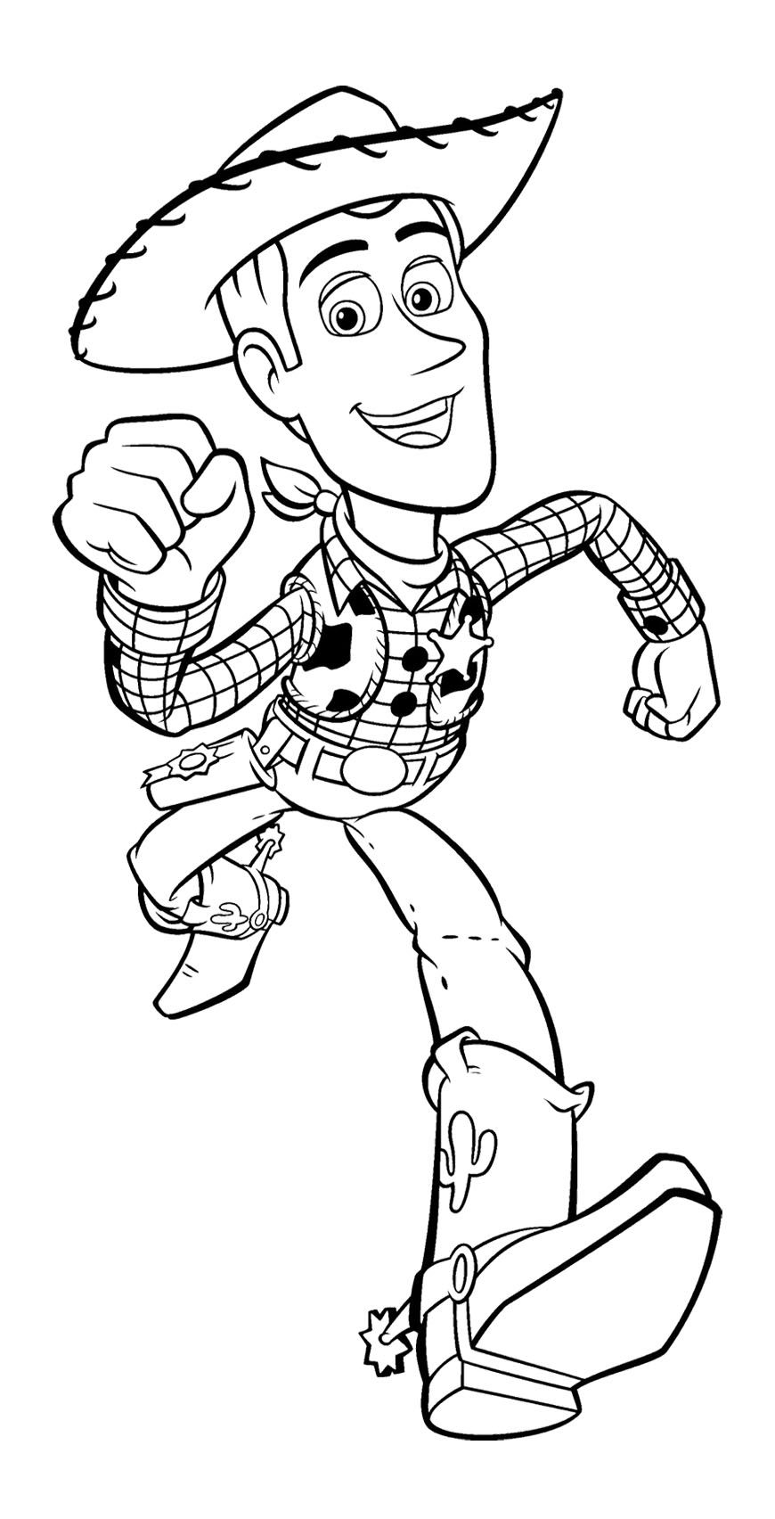 Toy Story Woody Runs Fast Coloring Page For Kids Kids Coloring