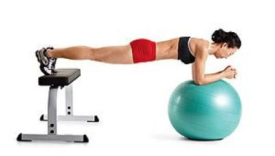 Image result for SWISS BALL PLANK WITH FEET ON BENCH