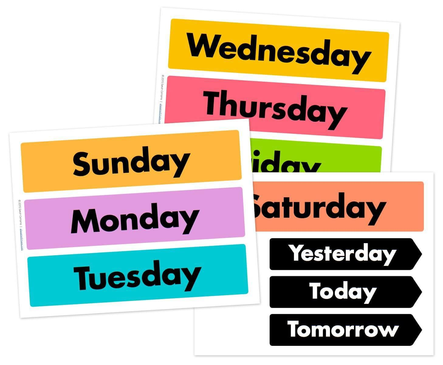 Days Of The Week Printable Free