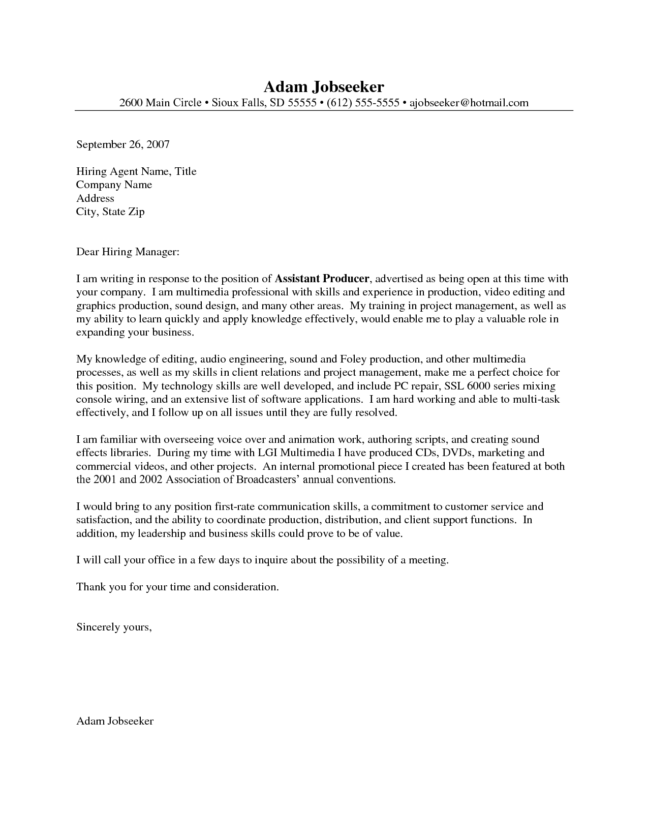 Cover Letter For Hospital Housekeeping Position With No